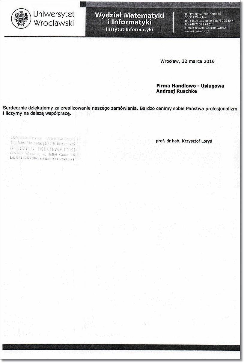 referencje Uniwersytet Wrocławski
